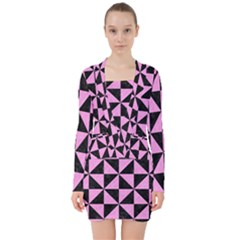Triangle1 Black Marble & Pink Colored Pencil V Neck Bodycon Long Sleeve Dress