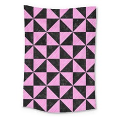 Triangle1 Black Marble & Pink Colored Pencil Large Tapestry by trendistuff