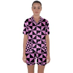 Triangle1 Black Marble & Pink Colored Pencil Satin Short Sleeve Pyjamas Set by trendistuff
