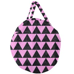 Triangle2 Black Marble & Pink Colored Pencil Giant Round Zipper Tote