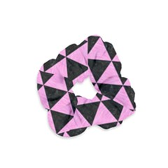 Triangle3 Black Marble & Pink Colored Pencil Velvet Scrunchie by trendistuff