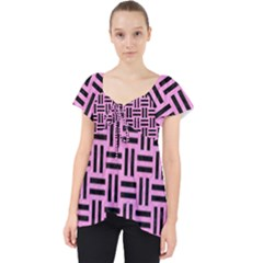 Woven1 Black Marble & Pink Colored Pencil Lace Front Dolly Top