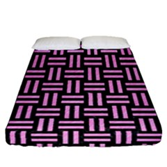 Woven1 Black Marble & Pink Colored Pencil (r) Fitted Sheet (queen Size) by trendistuff
