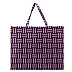 Woven1 Black Marble & Pink Colored Pencil (r) Zipper Large Tote Bag by trendistuff