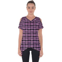 Woven1 Black Marble & Pink Colored Pencil (r) Cut Out Side Drop Tee
