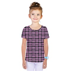 Woven1 Black Marble & Pink Colored Pencil (r) Kids  One Piece Tee