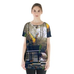 Funny Parrots In A Fantasy World Skirt Hem Sports Top by FantasyWorld7