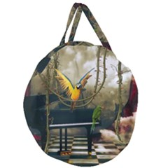 Funny Parrots In A Fantasy World Giant Round Zipper Tote