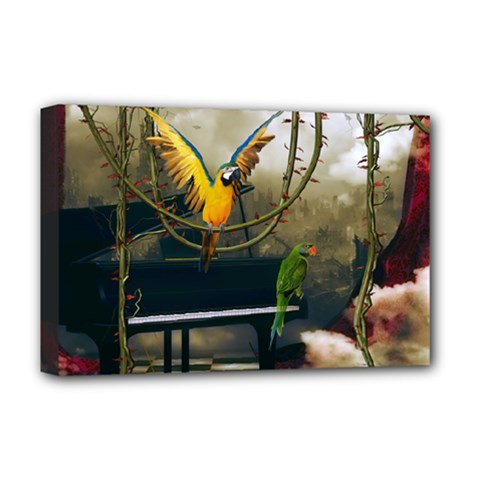 Funny Parrots In A Fantasy World Deluxe Canvas 18  X 12   by FantasyWorld7