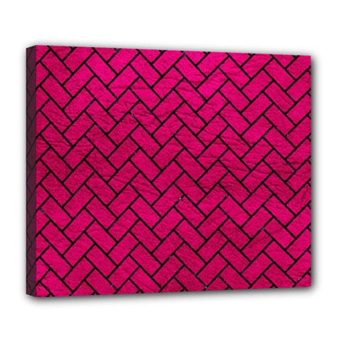 Brick2 Black Marble & Pink Leather Deluxe Canvas 24  X 20   by trendistuff