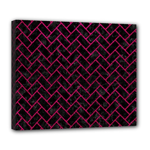 Brick2 Black Marble & Pink Leather (r) Deluxe Canvas 24  X 20   by trendistuff