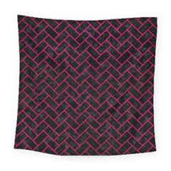 Brick2 Black Marble & Pink Leather (r) Square Tapestry (large) by trendistuff