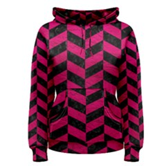 Chevron1 Black Marble & Pink Leather Women s Pullover Hoodie by trendistuff