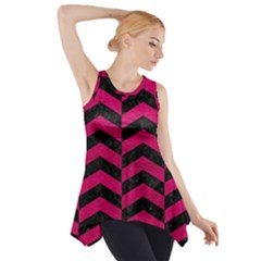 Chevron2 Black Marble & Pink Leather Side Drop Tank Tunic by trendistuff