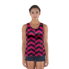 Chevron2 Black Marble & Pink Leather Sport Tank Top