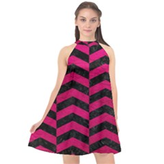 Chevron2 Black Marble & Pink Leather Halter Neckline Chiffon Dress