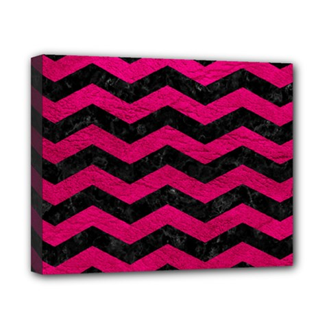 Chevron3 Black Marble & Pink Leather Canvas 10  X 8  by trendistuff