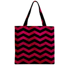 Chevron3 Black Marble & Pink Leather Zipper Grocery Tote Bag by trendistuff