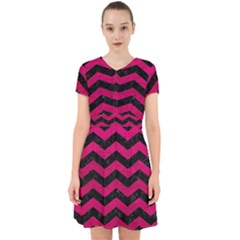 Chevron3 Black Marble & Pink Leather Adorable In Chiffon Dress
