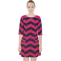 Chevron3 Black Marble & Pink Leather Pocket Dress
