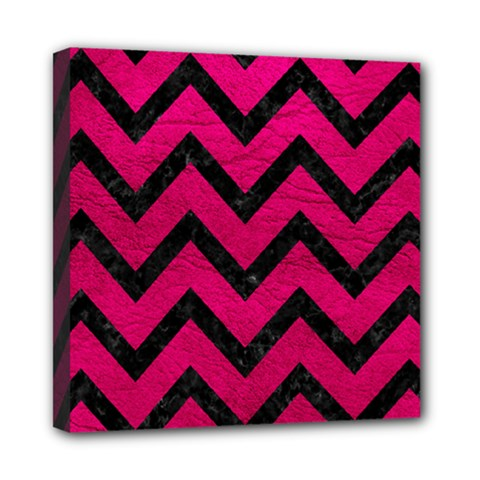 Chevron9 Black Marble & Pink Leather Mini Canvas 8  X 8  by trendistuff