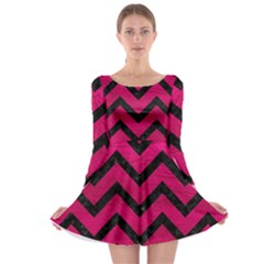 Chevron9 Black Marble & Pink Leather Long Sleeve Skater Dress by trendistuff