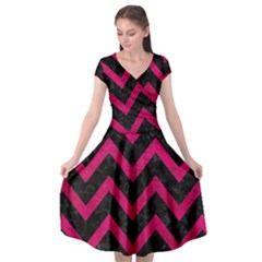 Chevron9 Black Marble & Pink Leather (r) Cap Sleeve Wrap Front Dress by trendistuff