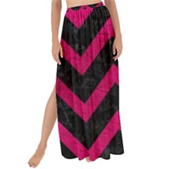 Chevron9 Black Marble & Pink Leather (r) Maxi Chiffon Tie Up Sarong