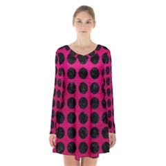 Circles1 Black Marble & Pink Leather Long Sleeve Velvet V Neck Dress