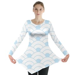 Blue,white,shell,pattern Long Sleeve Tunic  by 8fugoso