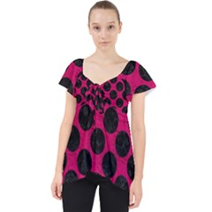 Circles2 Black Marble & Pink Leather Lace Front Dolly Top