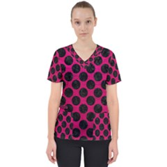 Circles2 Black Marble & Pink Leather Scrub Top