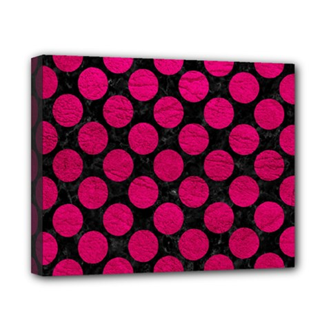Circles2 Black Marble & Pink Leather (r) Canvas 10  X 8  by trendistuff