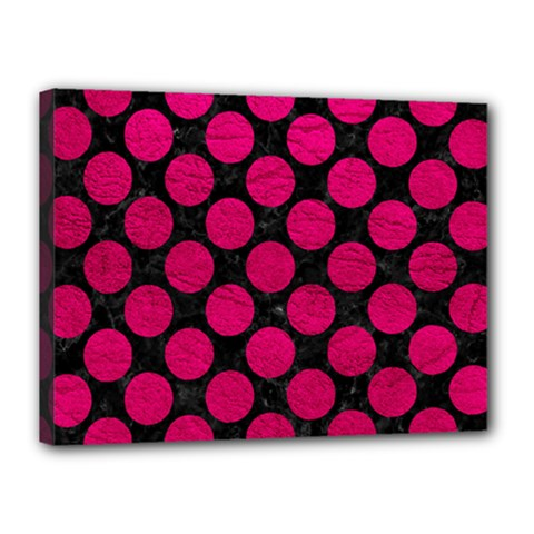 Circles2 Black Marble & Pink Leather (r) Canvas 16  X 12  by trendistuff