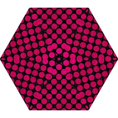 Circles2 Black Marble & Pink Leather (r) Mini Folding Umbrellas by trendistuff