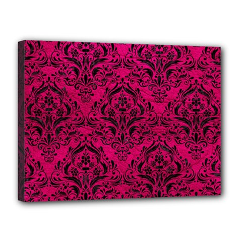 Damask1 Black Marble & Pink Leather Canvas 16  X 12  by trendistuff