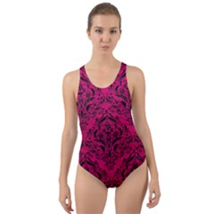Damask1 Black Marble & Pink Leather Cut Out Back One Piece Swimsuit