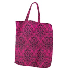 Damask1 Black Marble & Pink Leather Giant Grocery Zipper Tote by trendistuff