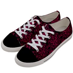 Damask1 Black Marble & Pink Leather (r) Women s Low Top Canvas Sneakers by trendistuff