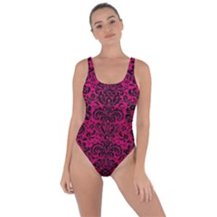 Damask2 Black Marble & Pink Leather Bring Sexy Back Swimsuit