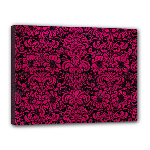 Damask2 Black Marble & Pink Leather (r) Canvas 16  X 12  by trendistuff