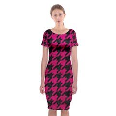 Houndstooth1 Black Marble & Pink Leather Classic Short Sleeve Midi Dress by trendistuff