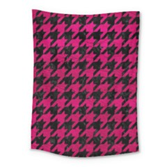 Houndstooth1 Black Marble & Pink Leather Medium Tapestry by trendistuff