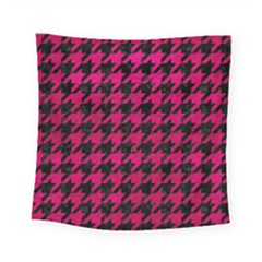 Houndstooth1 Black Marble & Pink Leather Square Tapestry (small) by trendistuff