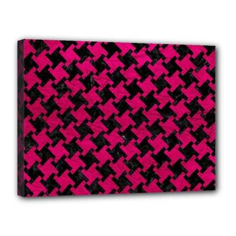 Houndstooth2 Black Marble & Pink Leather Canvas 16  X 12  by trendistuff