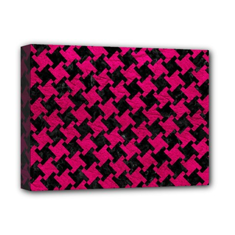 Houndstooth2 Black Marble & Pink Leather Deluxe Canvas 16  X 12   by trendistuff