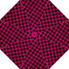Houndstooth2 Black Marble & Pink Leather Golf Umbrellas by trendistuff