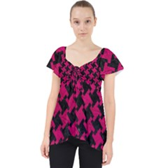 Houndstooth2 Black Marble & Pink Leather Lace Front Dolly Top
