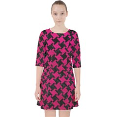 Houndstooth2 Black Marble & Pink Leather Pocket Dress