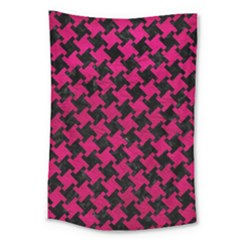 Houndstooth2 Black Marble & Pink Leather Large Tapestry by trendistuff